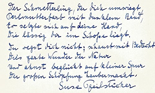 Suse Pfeilstücker (+) GERMAN AUTHORESS autograph, signed poem