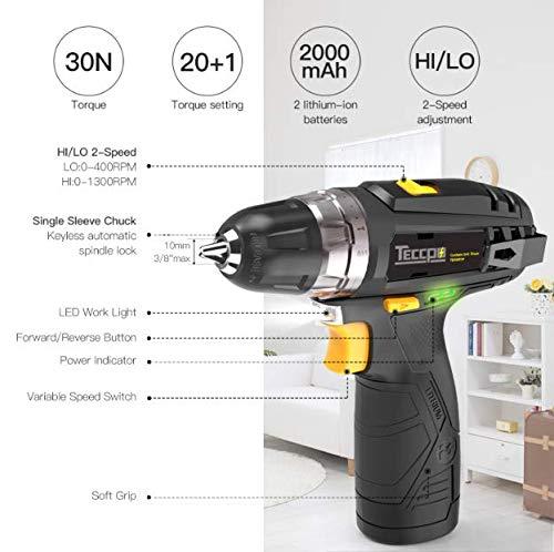 TECCPO TDCD01P mini taladro atornillador los mejores minitaladros herramientas de bricolaje comprar tienda online amazon