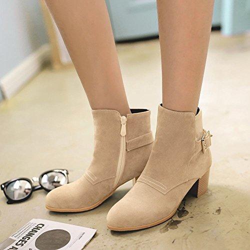 Charm Foot Moda Para Mujer Chunky Zipper Hebilla Tacón Medio Botines Beige