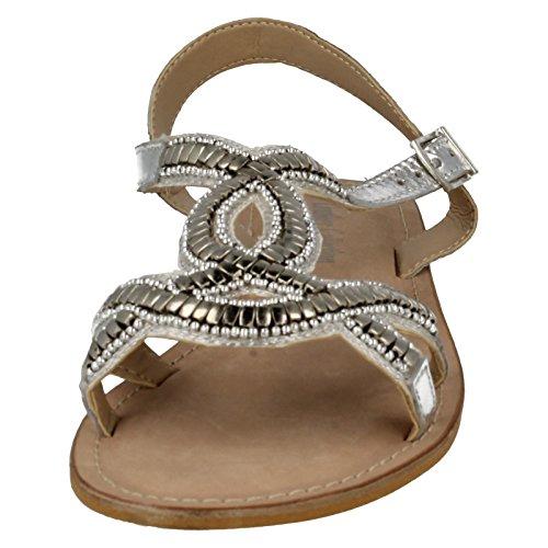 Spot On Leather Collection Damen Flache Sandalen F0899 Glamorous Silber