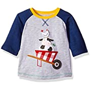 Mud Pie Baby Boys Farm Friends Long Sleeve Raglan T-Shirt, Gray, SM/12-24 MOS