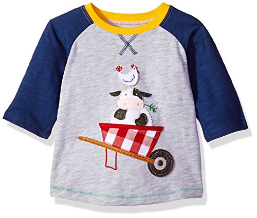 Mud Pie Baby Boys Farm Friends Long Sleeve Raglan T-Shirt, Gray, SM/12-24 Mos (Quarter Slub Sleeve Shirt)