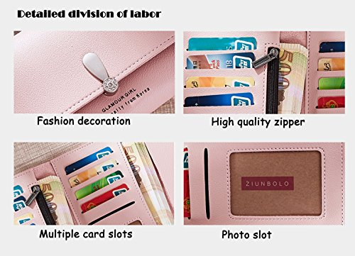 Blue Grey Clutch Womens Pu Wallet Purse SAIERLONG Case New Holder Leather qT7OvWHgcy