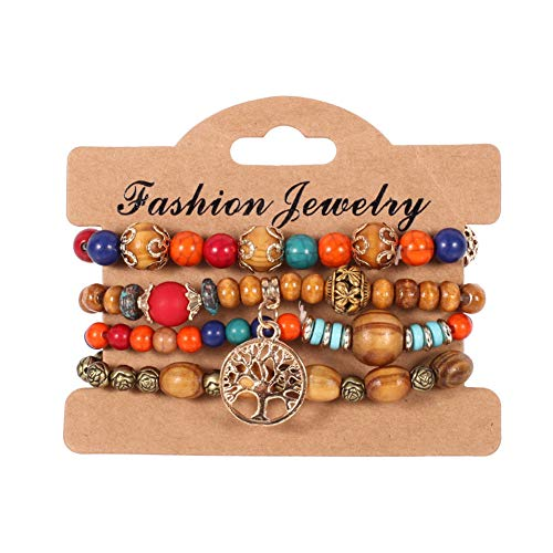 (Aineecy Multi-Layer Wood Beads Bracelet Set Bohemian Colourful Wooden Turquoise Grain Ball Chain Tree of Life Bracelet Bangle for Girls Women 4Set/pcs(Colorful))