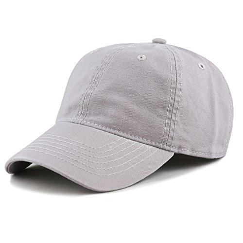 otton Canvas 6-Panel Low-Profile Adjustable Dad Baseball Cap (Grey) ()