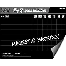 """Magnetic Refrigerator Chalkboard Chore Chart with Rewards - Responsibility and Activity Calendar - for Home, Kitchen and Classroom - 12"""" x 16"""" Dry Erasable Schedule for Children, Kids, Teens"""