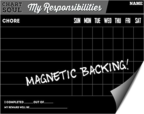 Magnetic Refrigerator Chalkboard Chore Chart with Rewards - Responsibility and Activity Calendar - for Home, Kitchen and Classroom - 12