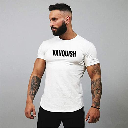 Huazi2 Mens Vanquish Print Casual Fitness T-Shirt Short Sleeve Shirt