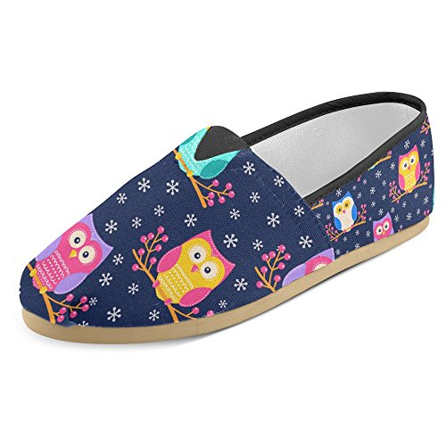 InterestPrint Womens Loafers Classic Casual Canvas Slip On Fashion Shoes Sneakers Mary Jane Flat Owls 3 inGFDXlV