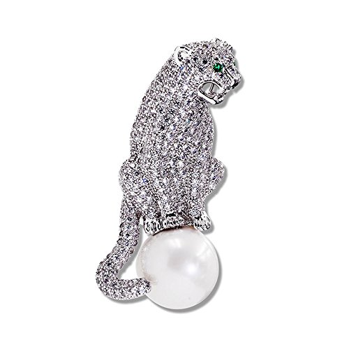 Teniu Animal Leopard Brooch Freshwater Pearls Brooch Diamond Zirconia Brooch Pins Silver Plated for ()