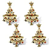 JulyLab Christmas Napkin Rings Set for Home Kitchen Table Settings Decoration Adornment, (Christmas Tree - Gold, 6)