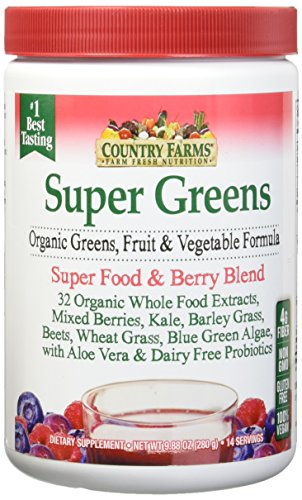 Country Farms Super Green Drink, Berry Flavor, 9.88 Ounce