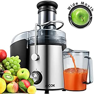 Aicok Juicer Wide Mouth Juice Extractor 800 Watt Centrifugal Juicer Powerful Fruit Machine with Juice Jug and Cleaning Brush,2 Speed Setting Stainless Steel Premium Food Grade
