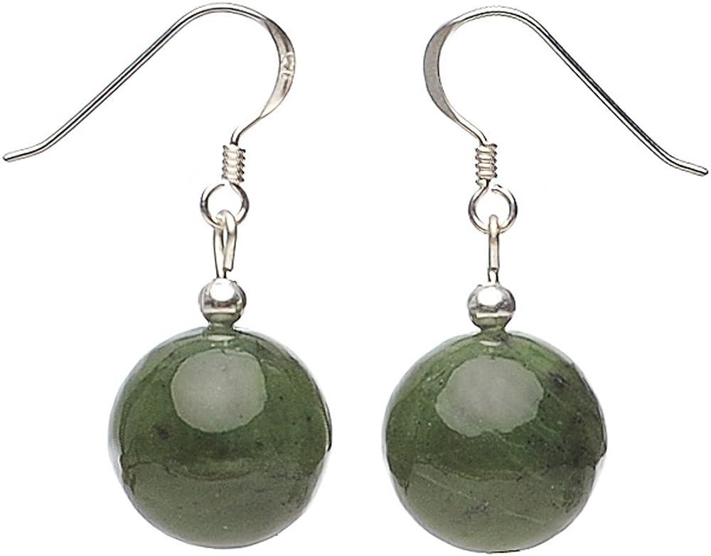 Pendientes genuino de Jade 925 plata colour verde oscuro aretes señorías