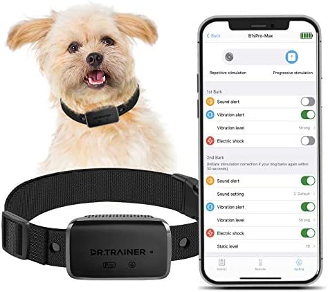 Dr.Trainer B1sPro Bark Collar APP&Watch Control, IP68 Waterproof Dog Training Collar with Smart Progressive Correction & Barking Report & Custom Sound, 0~99 Static Level Rechargeable Anti Bark Collar