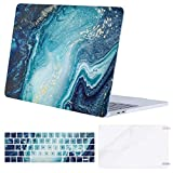 MOSISO MacBook Pro 13 Case 2019 2018 2017 2016 Release A1989 A1706 A1708 w/ & w/o Touch Bar,Plastic Pattern Hard Case&Keyboard Cover&Screen Protector Compatible Newest Mac Pro 13, Creative Wave Marble