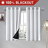 DWCN 100% White Blackout Curtains – Thermal Insulated, Energy Saving & Noise Reducing Bedroom and Living Room Lined Curtains, W 52 x L 54 Inch, Set of 2 Grommet Curtain Panels