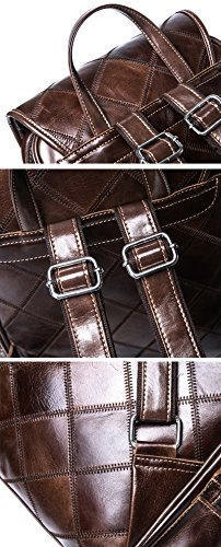 VM FASHION KISS Zipper&hasp Casual Crazy Horse Genuine Leather Backpack vintage Bag by VM FASHION KISS (Image #5)'