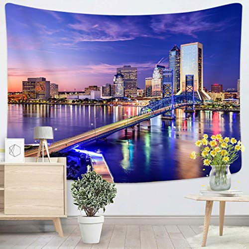 Sgvsdg Tapestry Jacksonville Florida USA Downtown City Skyline Home Decoration Wall 60X80 Inches Can Be Hung in The Dormitory Living Room - Fl Jacksonville Skyline