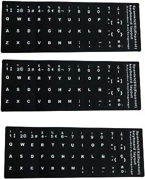 Wilk Reemplazo del Teclado español Etiquetas no Transparentes Pegatinas Teclado español con el Fondo Negro en Letras Blancas para los Ordenadores ...