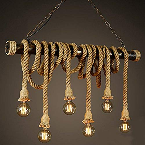 SUSUO Lighting Retro 6 Lamp Hemp Rope Chandelier Twisted Flaxen Rope Country Style Pendant Lights