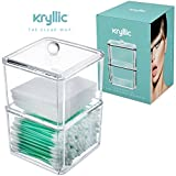 storage Clear Acrylic Cotton Ball & Swab Storage Case - Organizer For Cotton Swabs, Q-Tips, Make Up Pads, Cosmetics & More - For Bathroom & Vanity By Kryllic