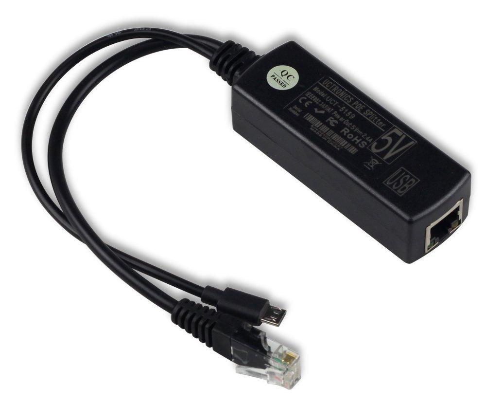 UCTRONICS IEEE 802.3af Micro USB Active PoE Splitter Power Over Ethernet 48V to 5V 2.4A for Tablets, Dropcam or Raspberry Pi (48V to 5V 2.4A)