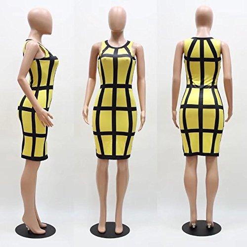Bettergirl (tm) Gilet Des Femmes De Crayon Partie Manches Coupe Slim Classique Club Sexy Robe Jaune