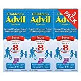 Children's Advil Suspension Ibuprofen 100mg Fast Pain Reliever and Fever Reducer Last up to 8 Hours Grape Flavor Liquid for Ages 2 to 11 Years - 3 Pack of 4 FL Oz Bottles