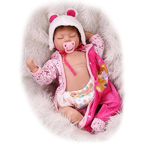 Indian Girl Plate - LILITH 22 Inch 55cm Sleeping Soft Silicone Reborn Doll Baby Girl with Belly Plate Realistic Lifelike Real Looking Baby Dolls Magnet Pacifier