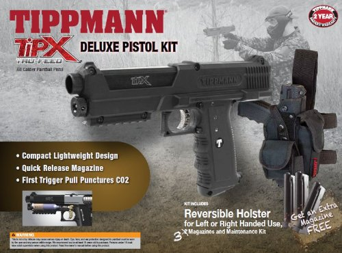 Tippmann TiPX .68 Caliber Deluxe Paintball Pistol Kit, Black
