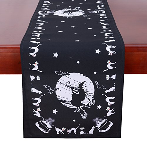 Simhomsen Halloween Table Runner for Dinner Party and Scary Movie Nights, Printed Spooky Wicked Witch (16 × 90 inch) by Simhomsen