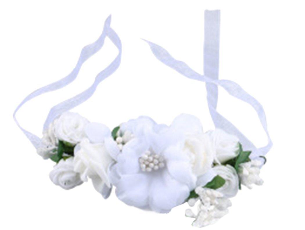 Love Sweety Rose Flower Crown Wreath Wedding Headband Wrist Band Set (White) by Love Sweety (Image #3)