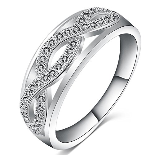 FENDINA Jewelry Womens Vintage Cubic Zirconia Infinity Love Promise Eternity Ring Engagement Wedding Anniversary Band Her - 18K White Gold Plated - Luxurious Series-FR756