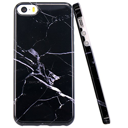 iPhone 5 Case, iPhone 5S Case, JAHOLAN Black White Marble Design Slim Shockproof Flexible Smooth TPU Soft Case Rubber Silicone Skin Cover for Apple iPhone 5 5S SE (5 Case Iphone Rubber Phone)
