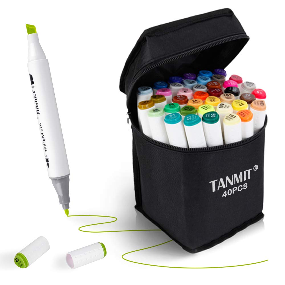 Tanmit Marker Pens Dual Tips Permanent Art Markers for Kids, Highlighter Pen Set for Adult Coloring Drawing Sketching Highlighting and Underlining (Carrying Case & 40 Colors)