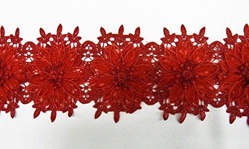 オーガンジーフラワーモチーフ レースブレード 花14個 赤 (MT-q012)