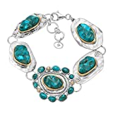 "Silpada 'Santa Fe' Compressed Turquoise Link Bracelet in Sterling Silver and Brass, 7"" + 1"" Extender"