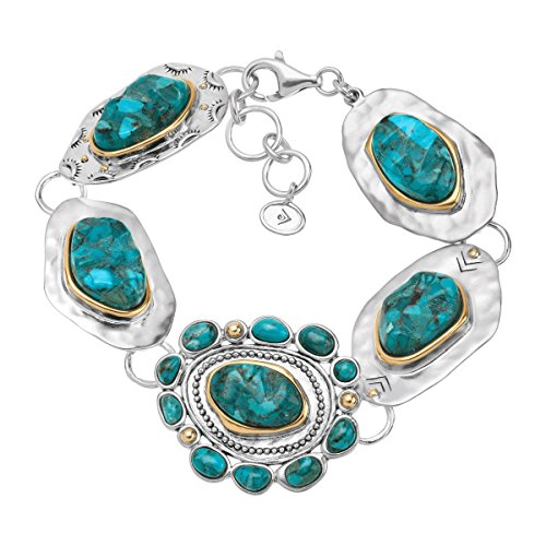 Silpada 'Santa Fe' Compressed Turquoise Link Bracelet in Sterling Silver and Brass, 7