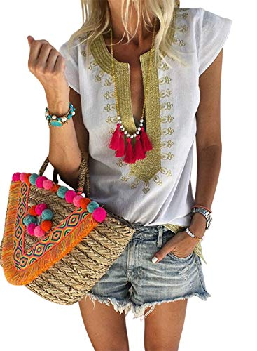 FARYSAYS Women's Summer Boho Embroidered V Neck Short Sleeve Casual T-Shirt Tops Loose Blouse White Medium