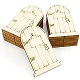 WINOMO 50pcs Wood Fairy Door Elf Door Mini Fairy Garden Wooden Door Decor 9.1x5.7cm