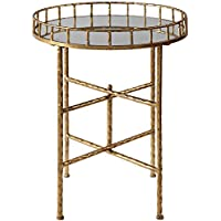 Uttermost Tilly Mirrored Top Bright Gold Leaf Accent Table