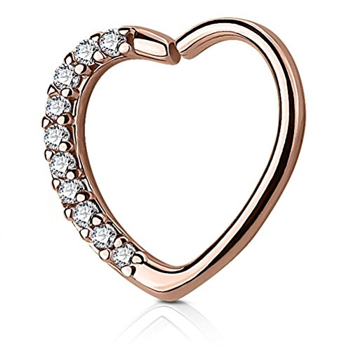 Earring Cartilage Right - Forbidden Body Jewelry 16g Clear CZ Lined Rose Gold Tone Heart Hoop Brass Cartilage Earring (Right Ear Only)