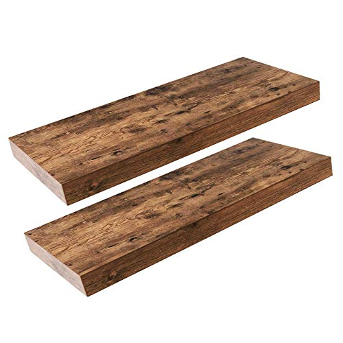 HOOBRO Floating Shelves, Rustic Wooden Wall ShelfSet of 2, 23.6 inch Hanging Shelves with Invisible Brackets, for Bathroom, Bedroom, Toilet, Kitchen, Office, Living Room Decor (Wooden Wall)