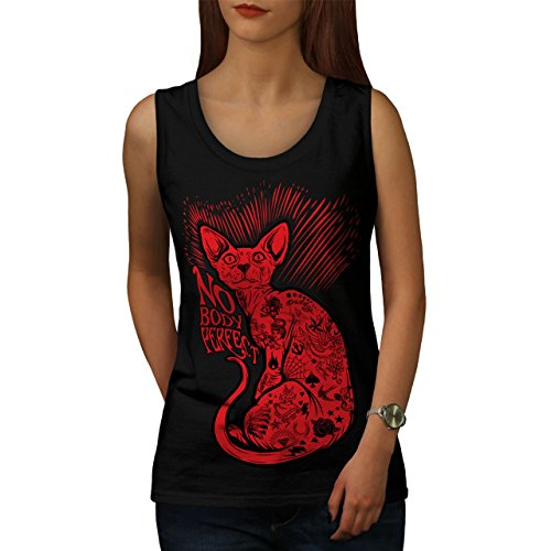 wellcoda Nobody Perfect Sphynx Cat Women Black M Tank Top