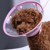 FOREYY Recovery Pet Cone E-Collar for Cats and Small Dogs - Elizabethan Collar with Breathable Soft Edge, Plastic Snap Closure and Stainless Steel D Ring (Pink, M)