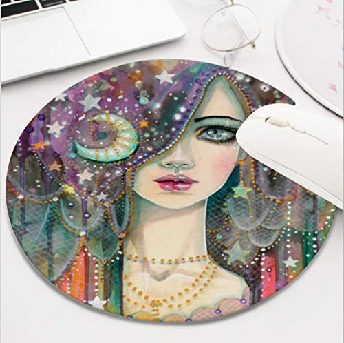 Ydset Galaxy Girl Bohemian Gypsy Fantasy Art Portrait Custom Mouse Pad Waterproof Material Non-Slip Rubber Round Mouse Pad(7.8x7.8x0.08inch) for Office Desktop or Gaming Mouse Mat Keyboard Pad ()