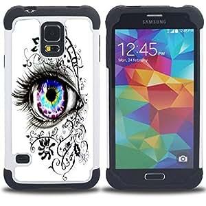 /Skull Market/ - Beautiful Eye Eyes Girl For Samsung Galaxy S5 I9600 G9009 G9008V - 3in1 h????brido prueba de choques de impacto resistente goma Combo pesada cubierta de la caja protec -