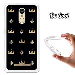 BeCool - Funda Gel Flexible Xiaomi Redmi Note 3 Coronas Doradas Carcasa Case Silicona TPU Suave
