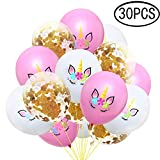 Gamtec 30PCS Unicorn Latex Balloons for Birthday Party Wedding Celebrations Gold Rose Golden Confetti Balloons Bullk Decroation (12 Inches)